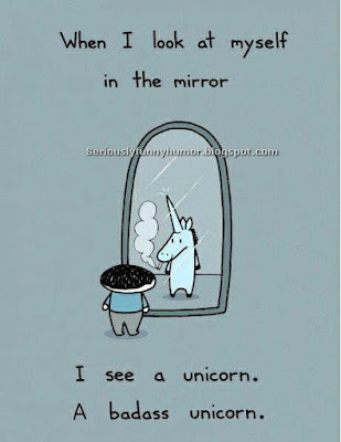When I look at myself in the mirror... I see a unicorn. A badass unicorn! Funny meme!