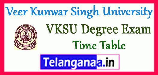 VKSU Veer Kunwar Singh University Degree Exam Part I II III BA B.Sc B.Com Time Table