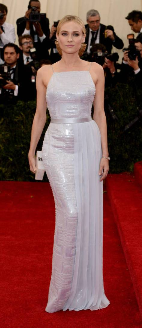 Diane Kruger in a pale blue Hugo Boss dress at the Met Gala 2014