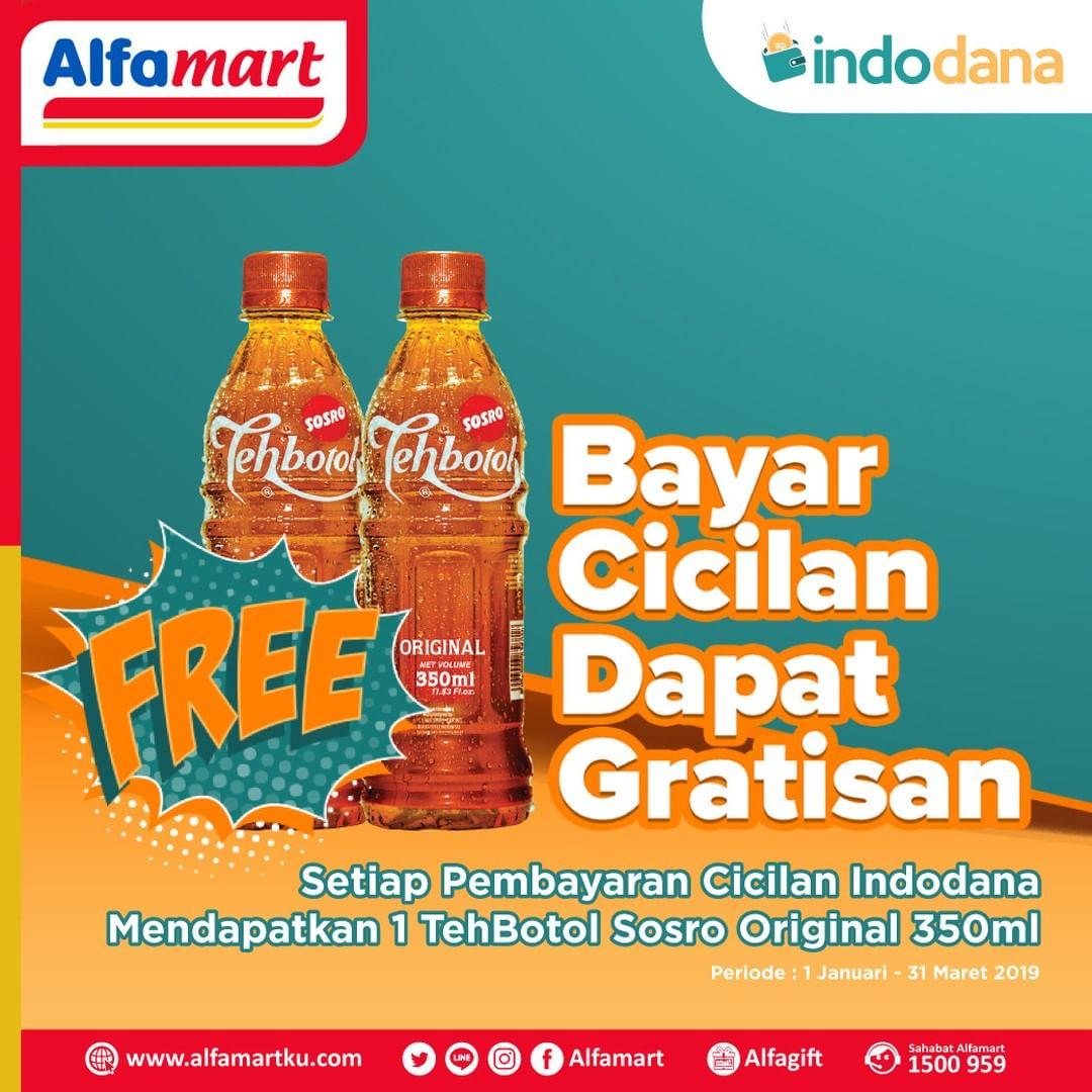#Alfamart - Promo Bayar Indodana Gratis 1 pcs Teh Botol Sosro Original 350 ml