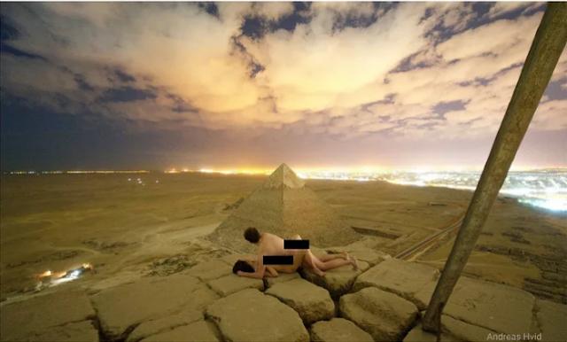 Fotógrafo tira foto dele mesmo transando no topo das piramides do egito