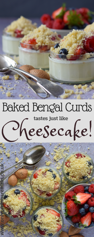 Baked Bengal Curds is a traditional Indian dessert (Bhapa Doi) which tastes just like Cheesecake!  It's very easy dessert to make and is is perfect to make ahead of time when entertaining guests or as a mid-week treat served with summer berries.