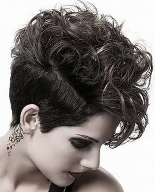 Undercut short curly haircut for women