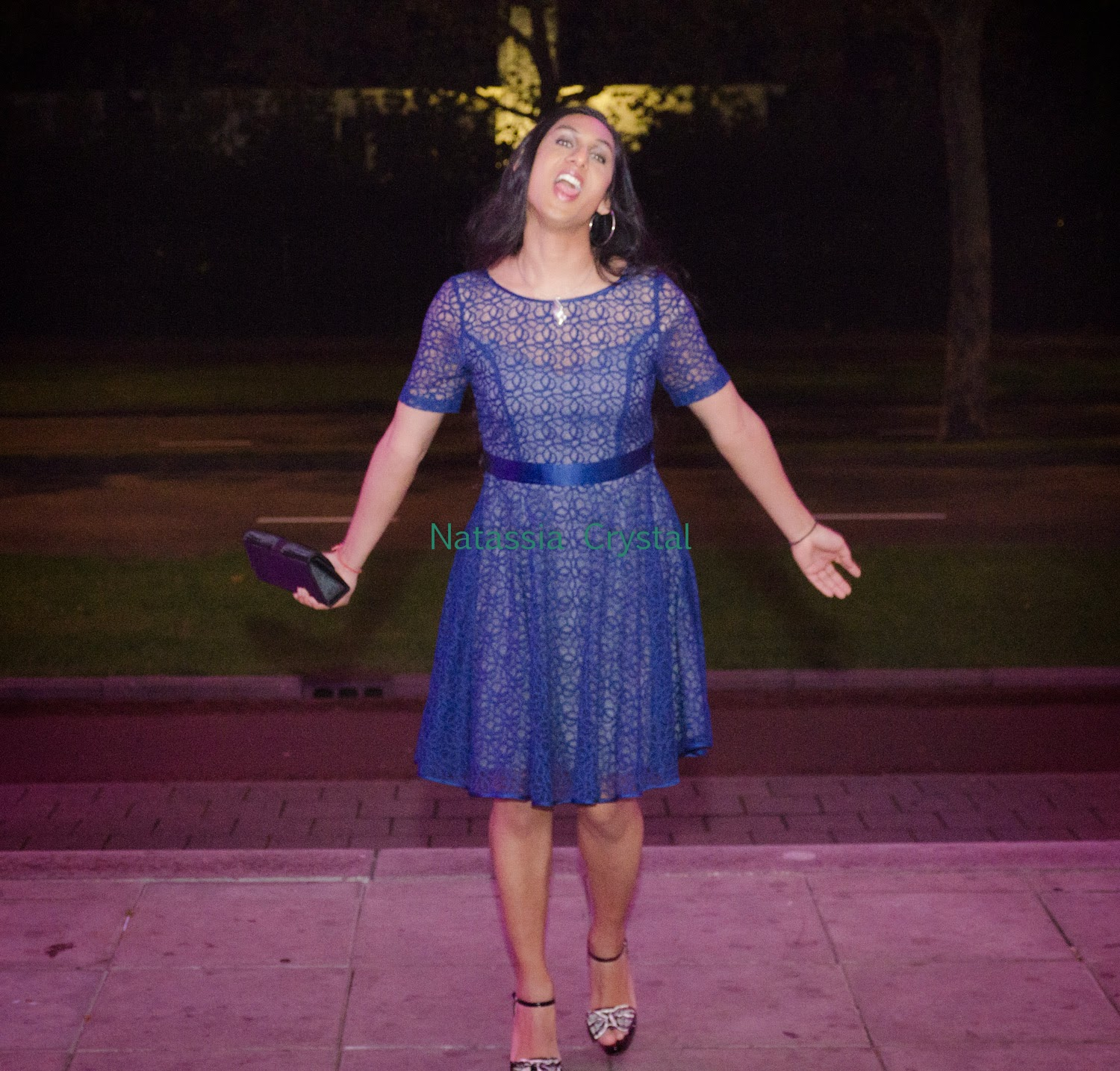 Natassia Crystal natcrys, blue prom dress, high heeled sandals, outside at night, being silly