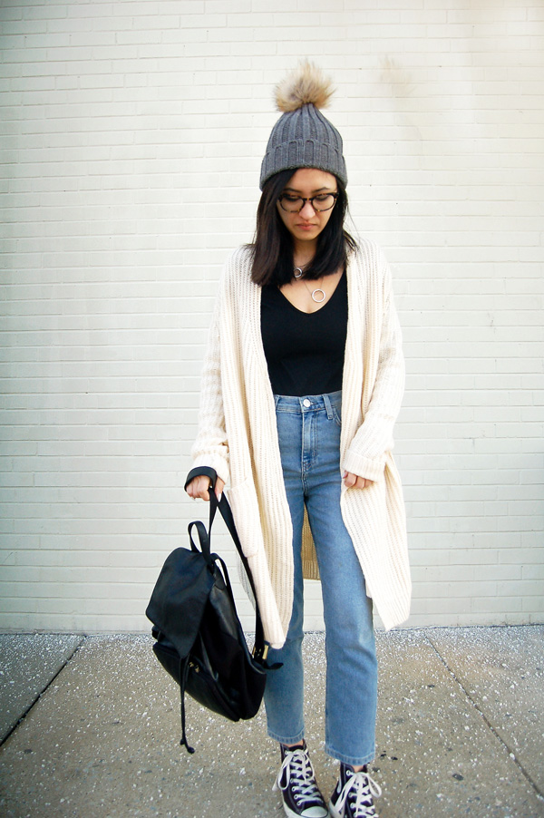 White Cardigan, Blue Jeans, Black Sneakers