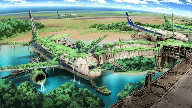 aviones abandonados cubiertos de hierba y agua