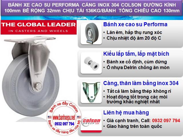 Bánh xe cao su đặc lăn không tạo tiếng ồn càng inox 304 colson www.banhxepu.net