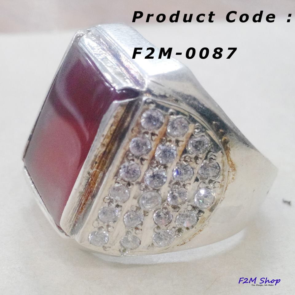 F2M Shop: Sterling Silver(Chandi) Ring with Aqeeq and Zircons Stone
