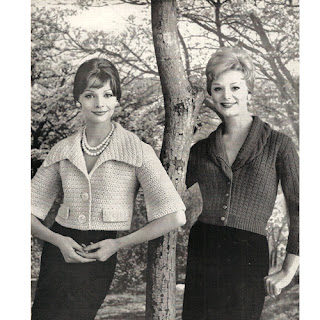 Viintage 1960's knitted cardigan patterns, waist length.