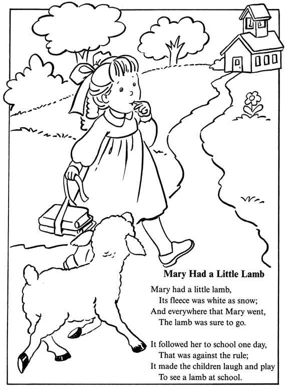 Mary free coloring pages on art coloring pages - Inkspired Musings Mary Had A Little Lamb Nursery Rhyme Fun
