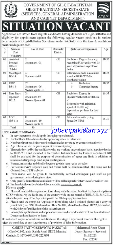 Advertisement for Gilgit Baltistan Jobs 2018