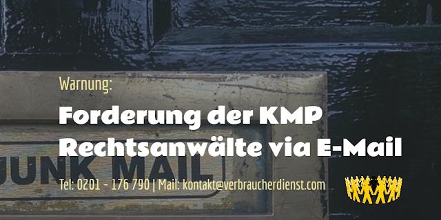 Beitragsbild: Warnung Forderung der KMP Rechtsanwälte via E-Mail