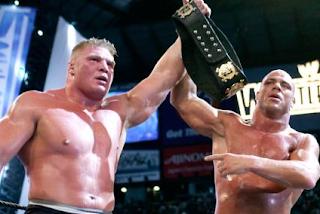 Kurt angle y brock lesnar, estrellas del german suplex, wwe en vivo, brock en wrestlemania