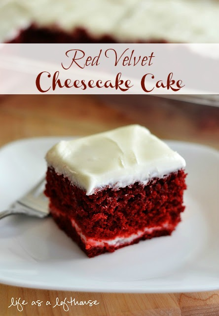 Red Velvet Cheesecake Cake has layers of red velvet cake and cheesecake with the most delicious cream cheese frosting on top. Life-in-the-Lofthouse.com