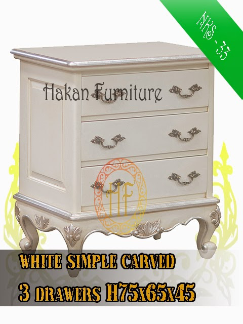White simple carved 3 drawers H75x65x45