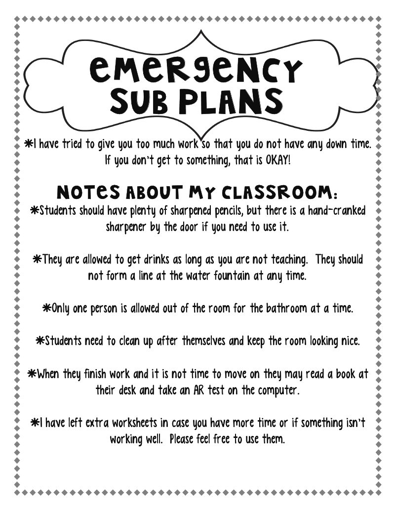 Printables Substitute Teacher Worksheets step into 2nd grade with mrs lemons planning for a sub although it took me about 2 3 hours to compile everything i needed my emergency tub know is well worth if im ever sick