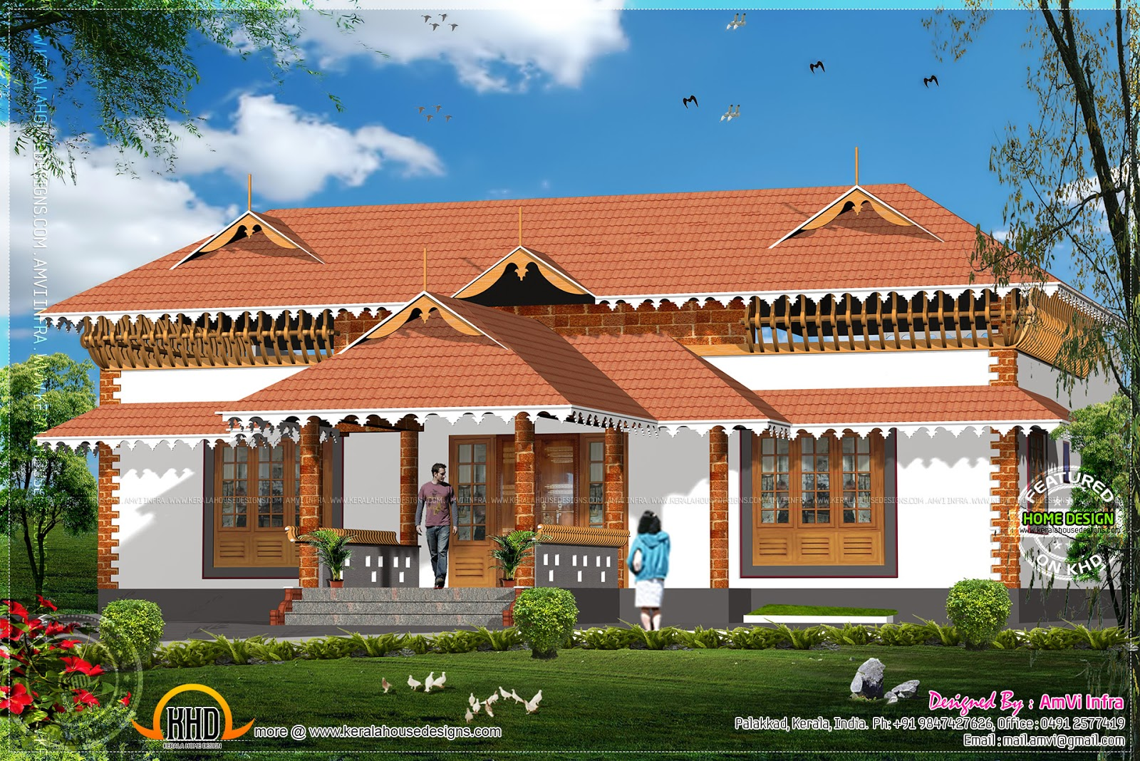 1600 square feet house with floor plan sketch kerala for Conventional house style