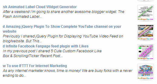 Blog-spot Tutorial   Themes   Widgets: Recent post widget for