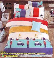 Sprei Custom Katun Jepang Anak Garis Travel London Merah Putih Biru Ungu