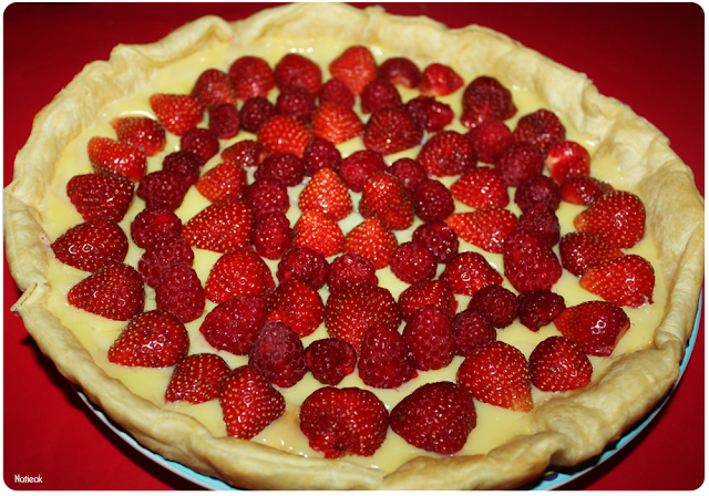 tarte fraise/framboise  de  la ferme de Servigny