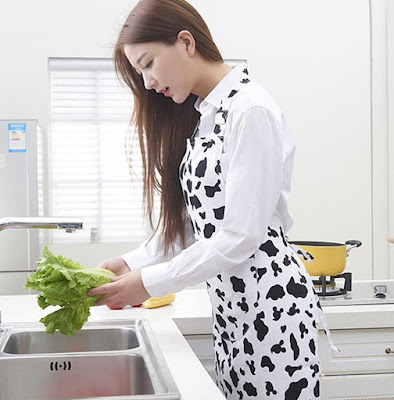 Black White Cow Print Apron