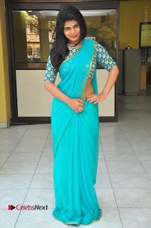 Telugu Actress Alekhya Stills in Green Saree at Swachh Hyderabad Cricket Press Meet  0101.JPG