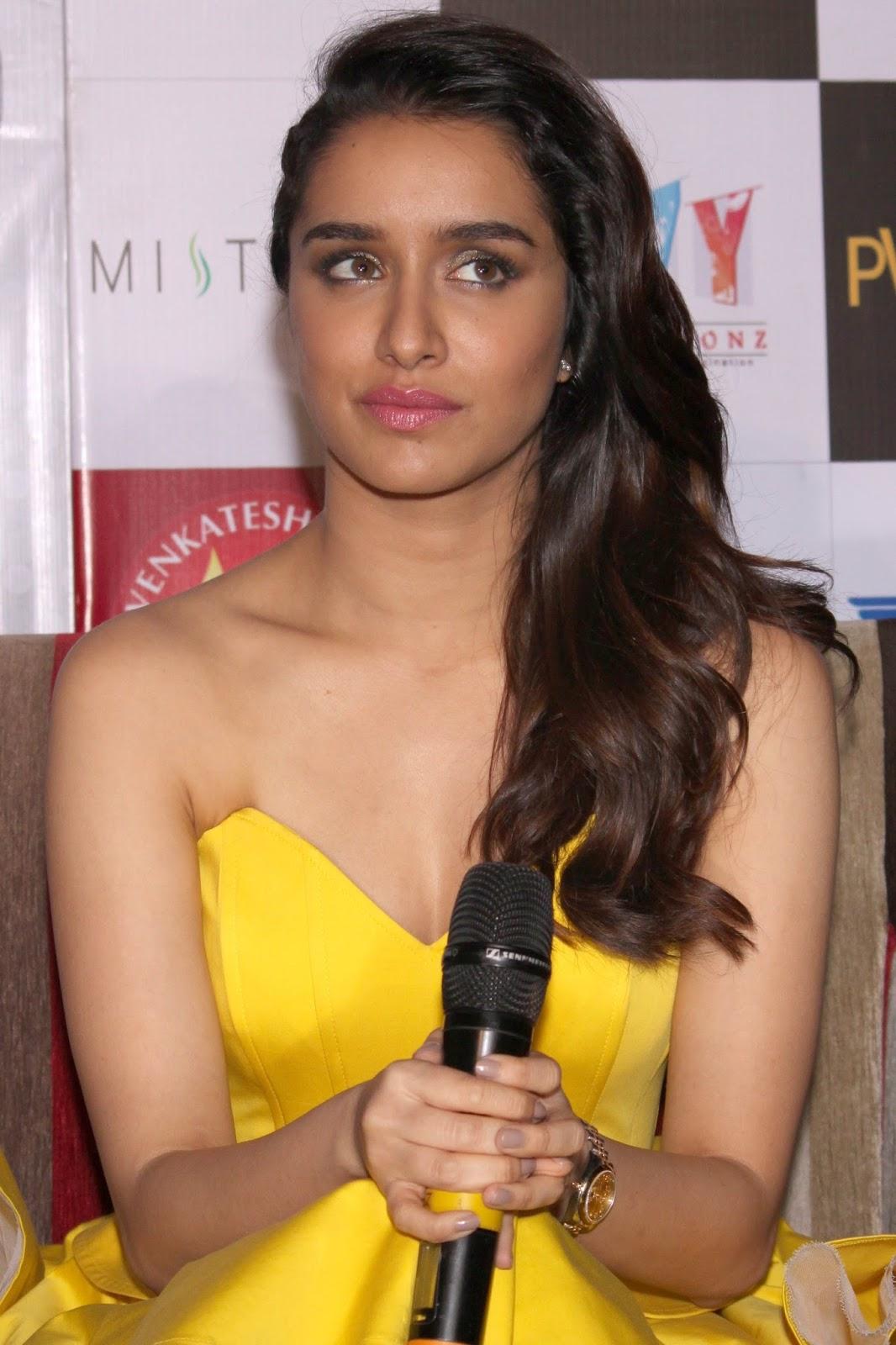Bollywood Glamorous Hot Actress Shraddha Kapoor Photos In Yellow Dress