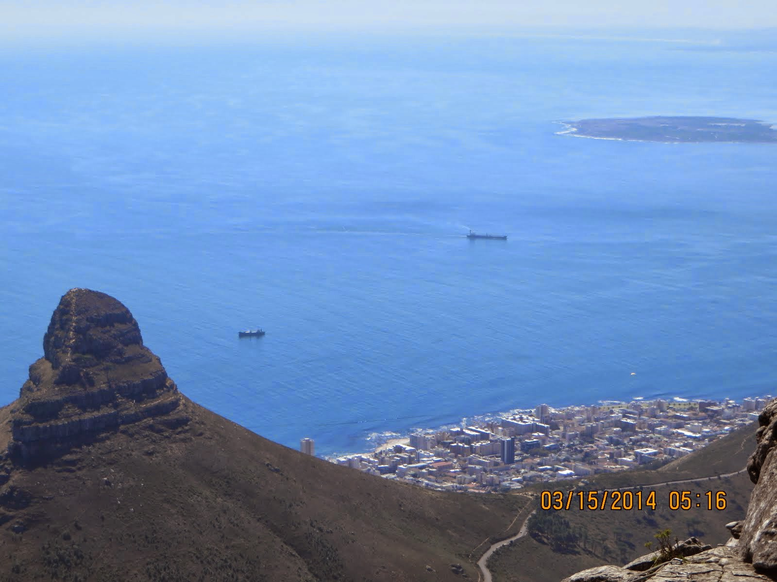 Lions Head, Capetown and Robbens Island, below Table Mountain