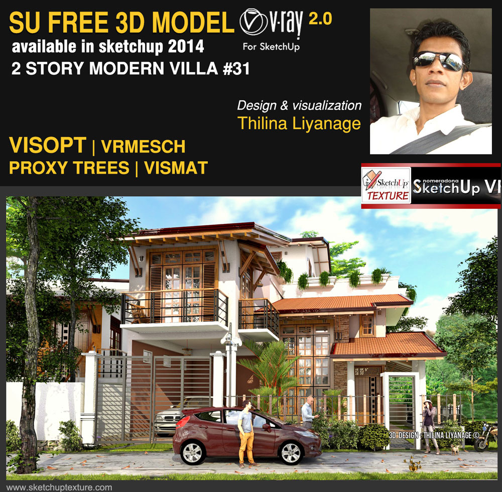 free sketchup 3d model 2 story modern villa vray 2.0 render #31 cover