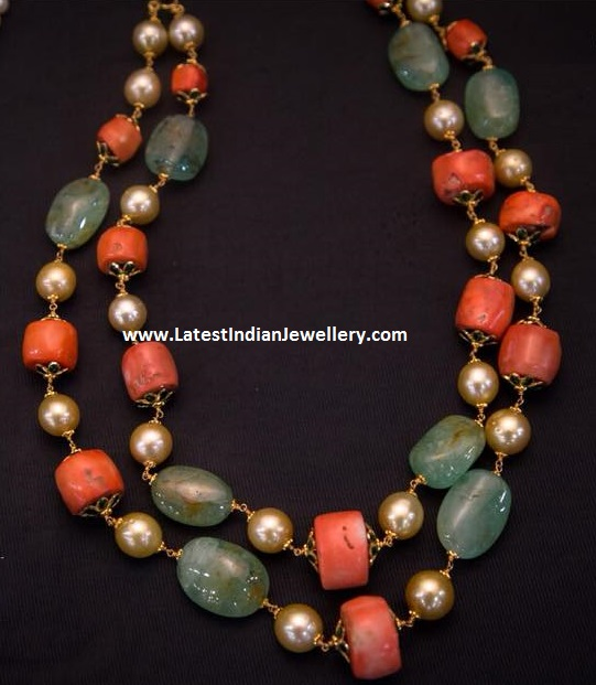 2 Stringed Coral Emerald Beads Necklace