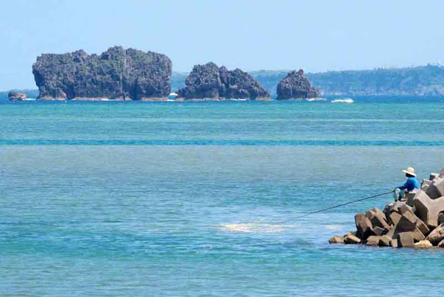 fishing, ocean, rocks, fisherman