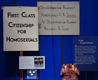 "Some of Frank Kameny's z""l donated picket signs and buttons are on display as part of an exhibit at the National Air and Space Museum where they are on loan from the Smithsonian National Museum of American History."