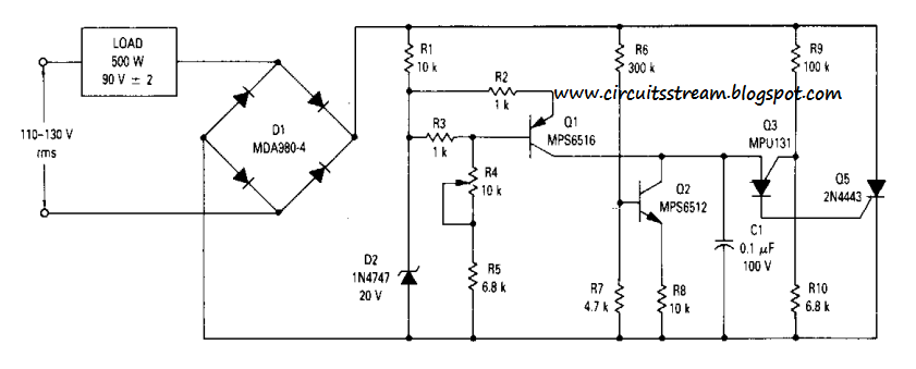 build a simple 90vrms voltage regulator circuits diagram. Black Bedroom Furniture Sets. Home Design Ideas