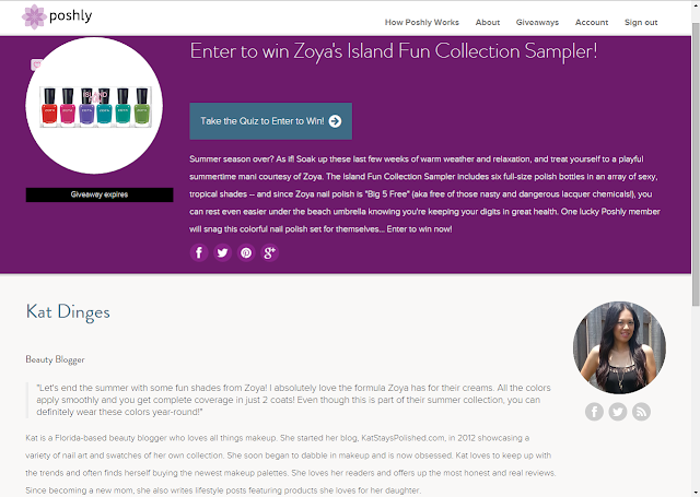 Poshly Giveaways - Zoya Island Fun | Kat Stays Polished