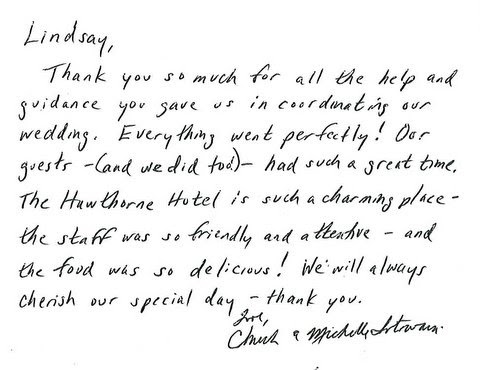 Weddings at the Hawthorne Hotel: Lovely Words for Lindsay