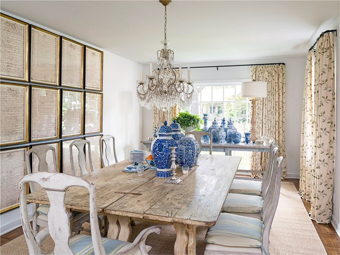 Collection of blue and white Chinese Porcelain used as a beautiful accent in a West Highland Park cottage.