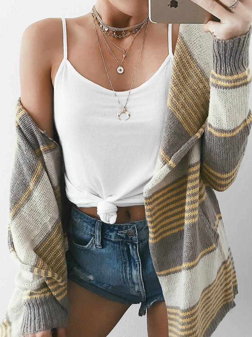 what to wear with a cardigan : white top + denim shorts