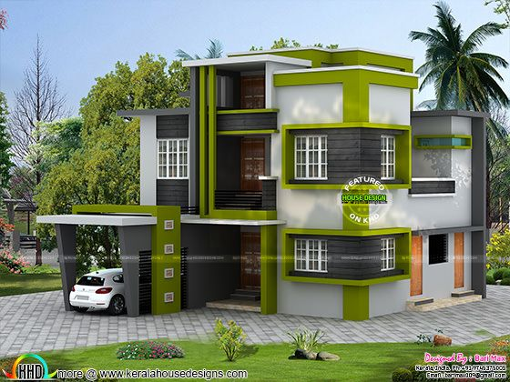 Contemporary 5 bedroom house in 1790 sq-ft Kerala home design - total 3d home design