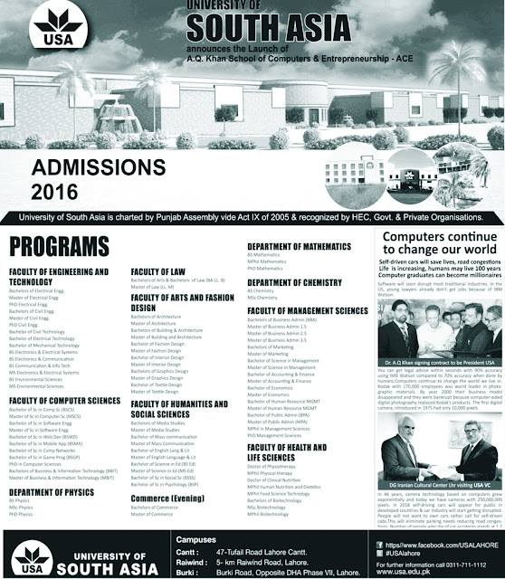 University of South Admission Notice Fall 2016