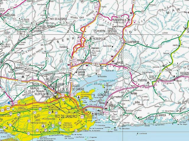 Mapa rodoviário da região de Petrópolis - RJ