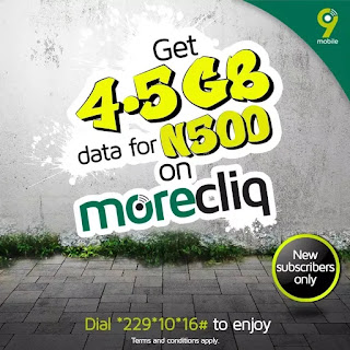 Get 4.5GB data for N500 on 9mobile Morecliq