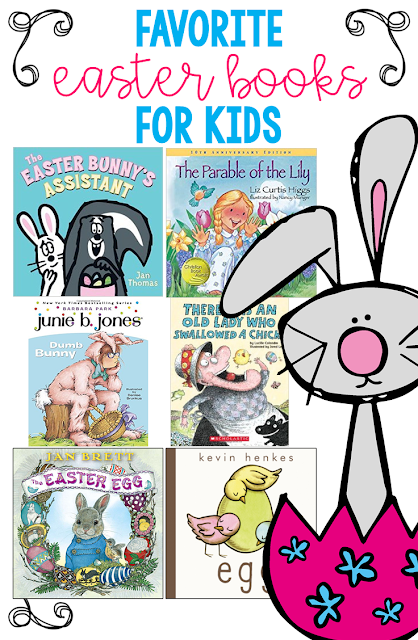 A list of favorite Easter themed books for kids in PreK, Kindergarten, First Grade, and Second Grade.
