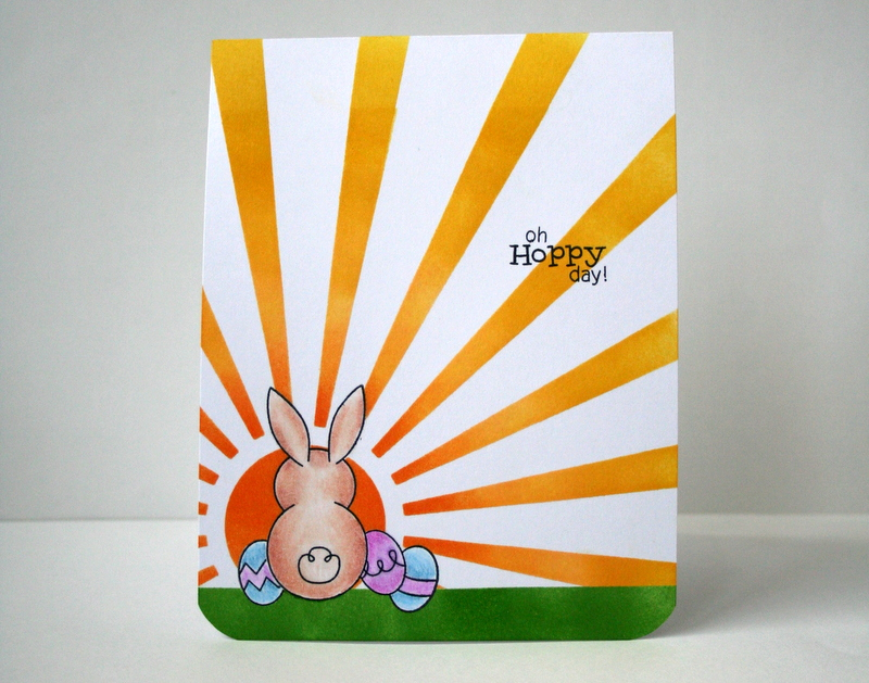 Stenciled Sun Ray Card using Newton's Nook Bunny Hop Stamps and My Favorite Things Sun Ray stencil