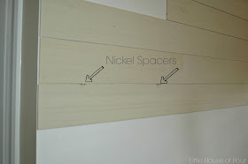 spacing plywood with nickels for plank wall