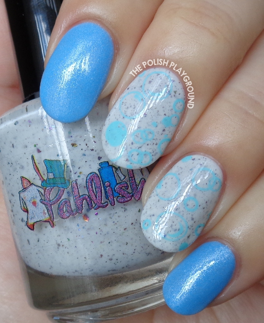Light Blue Underwater Bubbles Stamping Nail Art