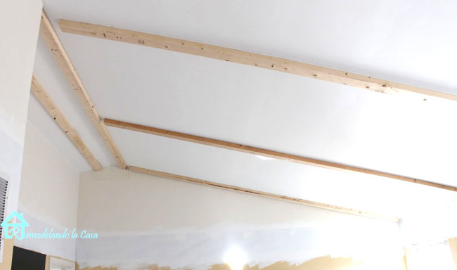 slanted ceiling with 2 x 4 in place