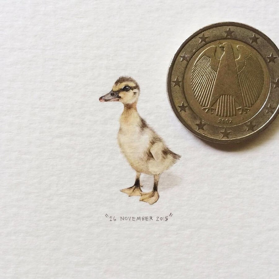 06-Duck-Chick-Lorraine-Loots-Tiny-Art-www-designstack-co