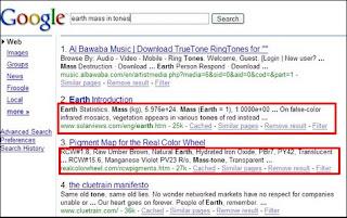 Resultados de búsquedas Google en 1998
