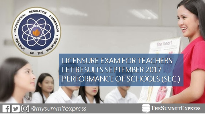 September 2017 LET Secondary board exam result: performance of schools