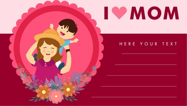 Mother day card cartoon style pink decoration Free vector